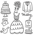 doodle of wedding object style design vector image vector image