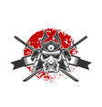 emblem with samurai helmet and crossed katana vector image vector image