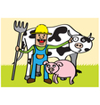 Farmer with animals vector image vector image