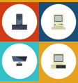 flat icon laptop set of pc computer processor vector image vector image