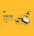 future flying taxi car isometric website vector image vector image