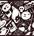 Halloween seamless pattern hand drawn on dark
