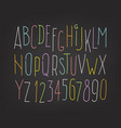 hand-drawn color letters and digits isolated on vector image