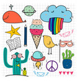 hand drawn doodle set vector image vector image