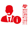 help desk icon with valentine bonus vector image vector image