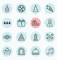holiday icons set with winter hat taffy candle vector image vector image