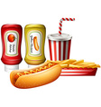 Hotdog and fries with two kind of sauces vector image vector image