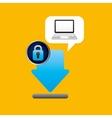 laptop padlock download data secure vector image vector image
