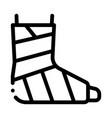 leg foot gipsum bandage orthopedic icon vector image vector image