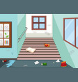 litter in school hallway vector image vector image