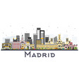 madrid spain skyline with gray buildings isolated vector image vector image
