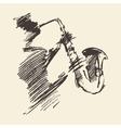 Man playing saxophone drawn sketch vector image vector image