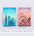 milwaukee and los angeles famous city scapes vector image vector image