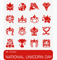 national unicorn day icon set vector image vector image