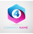 Number four logo symbol in the colorful hexagonal vector image vector image