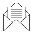 open envelope thin line icon letter vector image vector image