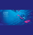 outline cyber security concept with tablet vector image vector image