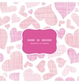 Pink textile hearts horizontal frame seamless vector image