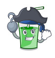 pirate green smoothie character cartoon vector image vector image