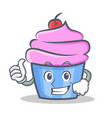 proud cupcake character cartoon style vector image vector image