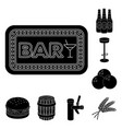 pub interior and equipment black icons in set vector image