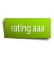 rating aaa square paper sign isolated on white vector image vector image
