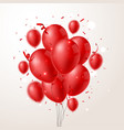 red balloons with confetti and background vector image vector image