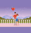 romantic couple on the date man holding balloon vector image