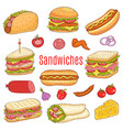 sandwich set sketch vector image vector image