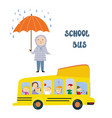 school bus and kid at stop under rain vector image vector image