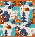 seamless pattern with cute wild animals in blue vector image