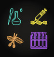 set laboratory research tools concept neon vector image