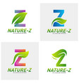 set nature z logo design initial z logo vector image vector image