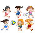 set of active girls vector image