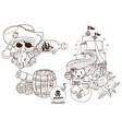 set of black and white for coloring outline of vector image vector image