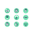 set wedding icons with diamond wedding ring woman vector image vector image