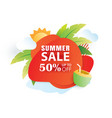 summer sale banner paper cut template red vector image vector image