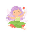 sweet little winged fairy flying with lilac hair vector image vector image