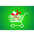 Trolley designed for shopping with a gift inside vector image