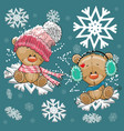two teddy bears vector image vector image