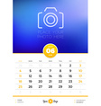 Wall Calendar Template for 2017 Year June Design vector image vector image