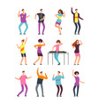 young funny men and women dancing at summer party vector image