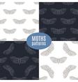 Hand drawn hawk moth seamless patterns set vector image