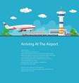 passenger plane comes in to land flyer design vector image