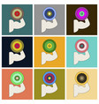 set of icons in flat design logo bicep vector image