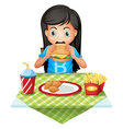 a hungry girl eating at a fastfood restaurant vector image vector image