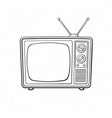 analogue retro tv with antenna vector image vector image