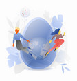 blue easter egg with tiny people vector image vector image