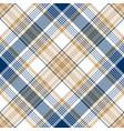 blue gold tartan diagonal seamless pattern vector image vector image