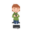 boy playing video games on console cute kid vector image vector image